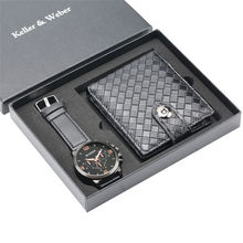 Keller & Weber Gift Quartz Watch Wallet Set Case Watches for Male Fashion Small Rhomb Shaped Leather Business Gifts Reloj Hombre цена и фото