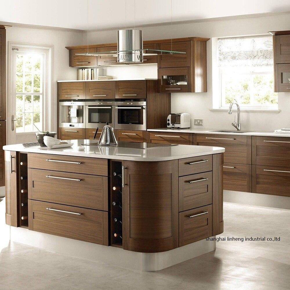 En bois massif courbé forme cuisine cabinet (LH-SW089)