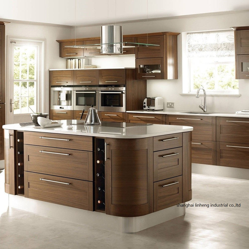 Solid Wood Curved Shape Kitchen Cabinet(LH-SW089)