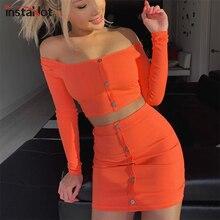 InstaHot Orange Knitted Off Shoulder 2 Piece Set Women Spring Summer Button Skinny Slash Neck Crop Tops Sexy Mini Skirts Elastic