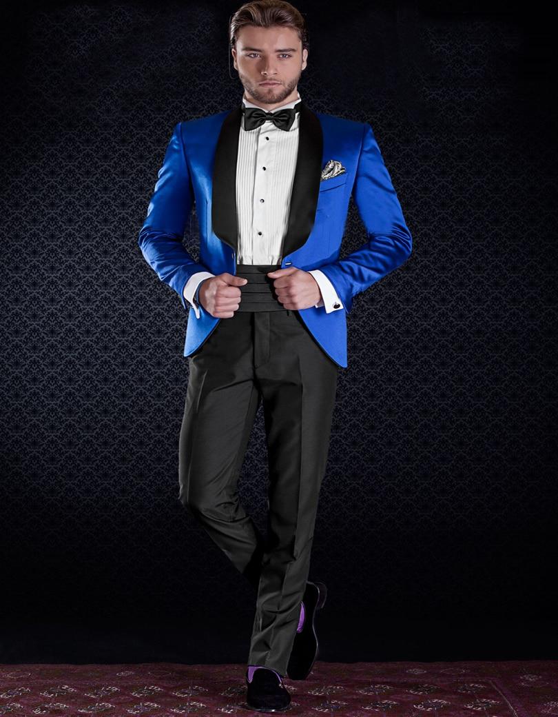 Electric Shiny Satin Blue Tuxedo Jacket With Black Pants Custom ...