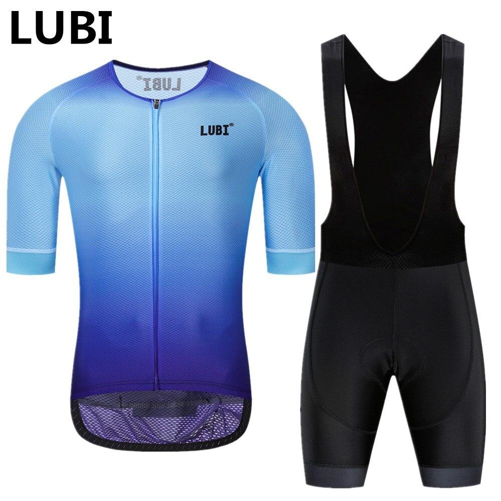 LUBI 2019 Pro Team Men Summer Cycling Jersey Bib Short Set Wear High Density Sponge Pad