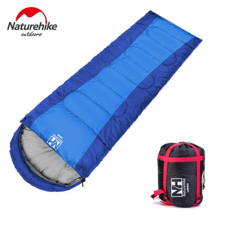 ФОТО Naturehike Outdoor Envelope Hood Adult Man Woman Single Splicing Sleeping Bags Cotton Camping for Spring Autumn Blue Orange