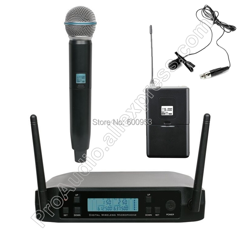 MICWL UHF 2 Channel Frequency Adjustable Wireless Dynamic Handheld Lavalier Mic Microphone System For Stage Karaoke Church Club xtuga ew240 4 channel wireless microphones system uhf karaoke system cordless 4 bodypack mic for stage church use for party