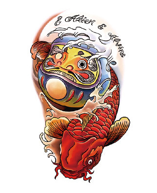 Japanese auspicious symbol sticker red carp pattern personalized tattoos temporary tumbler koi tattoos paper