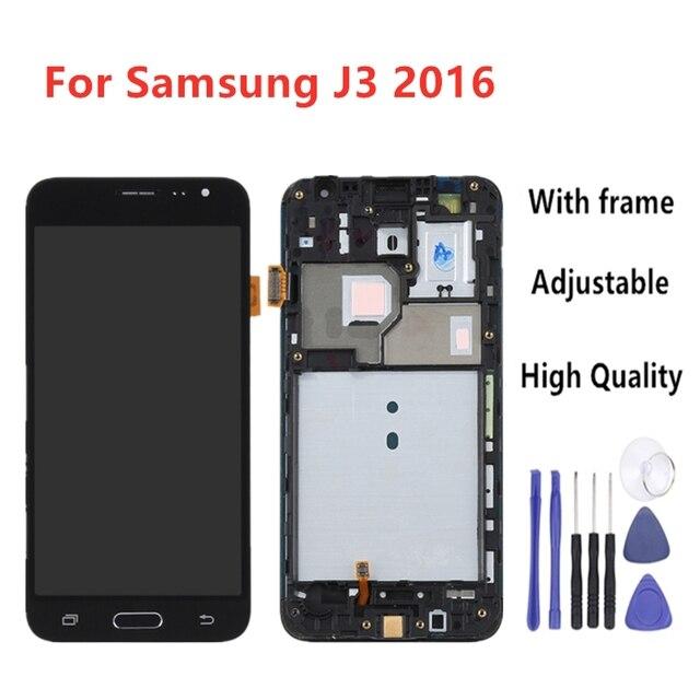 LCDสำหรับSamsung J3 2016 LCDสำหรับGalaxy J3 2016 หน้าจอJ320F J320M J320H J320FN Touch Screen Digitizerบ้านปุ่มกรอบ