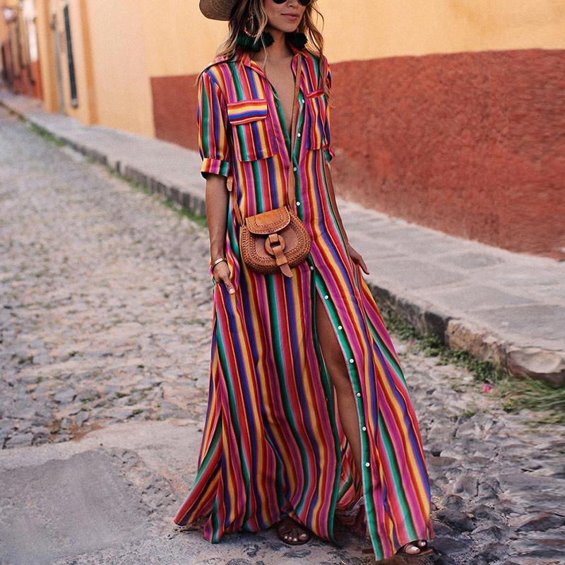 Versuchen Alles Lange Gestreiften Kleid Frauen Hemd Kleider 2018 Regenbogen Kleid Frauen Maxi Kleid Sommer Plus Größe Robe Femme Ete 2018