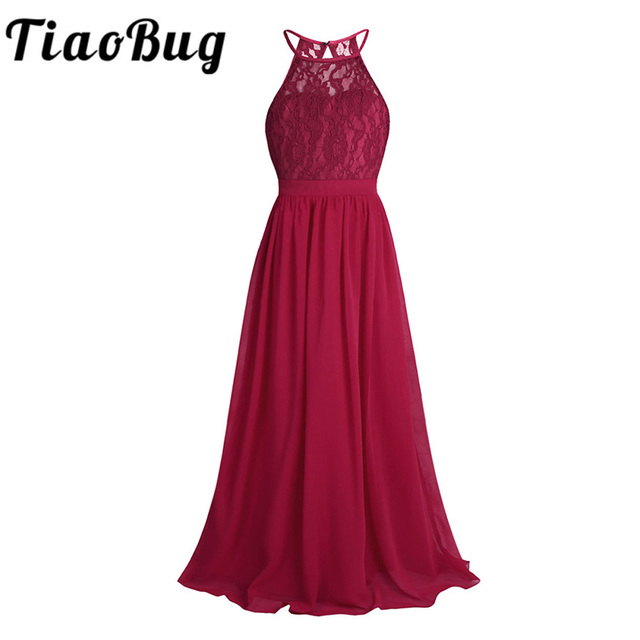 TiaoBug New Girls Lace Chiffon Sleeveless Halter Flower Girl Dress Princess Pageant A Line Hollow Out Formal Wedding Party Dress