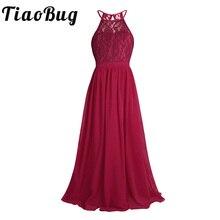 TiaoBug nouvelles filles dentelle en mousseline de soie sans manches licou fleur fille robe princesse Pageant a ligne évider formelle robe de soirée de mariage