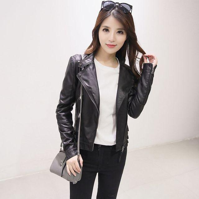 low priced 1832d eb4b5 Giacca di pelle nera sottile giacche stile casual zipper moda femminile  faux giacche in pelle delle donne della chiusura lampo femme outwear coat  in ...