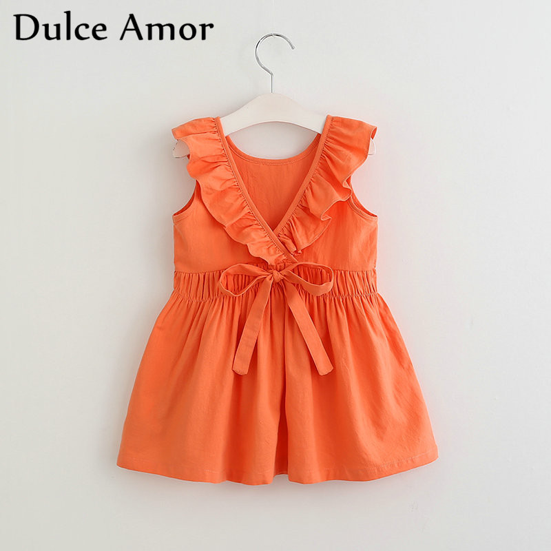 Dulce Amor Summer Girls Dress Princess Dress Ruffles Sleeveless Girls Party Dress Backless V Back Waist Tie Up Bow Girls Dresses cacharel туалетная вода amor amor sunrise 100 ml