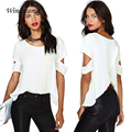 Women Fashion Wrap Back Cutout Chiffon Blusa Sexy Women Short Sleeves O-Neck Casual Tops Tank Top T Shirt