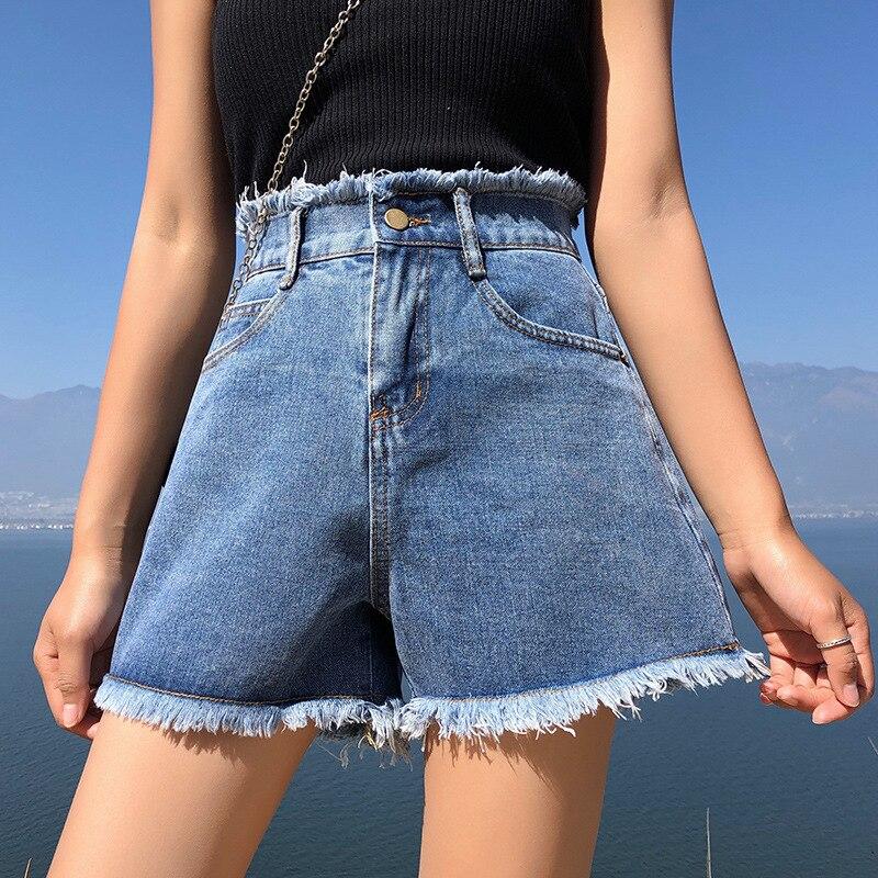 BerylBella Summer Women Shorts  2019 Loose High Wiast Blue Wide Leg Loose Female Denim Shorts For Women Casual Shorts Mujer