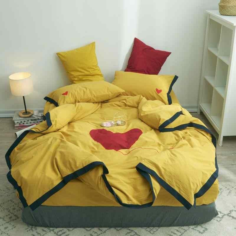 Комплект постельного белья желтого и белого цвета, размер King queen, Комплект постельного белья с сердечками, мягкие простыни, набор пододеяльников, простыня на резинке, наволочка parure de lit