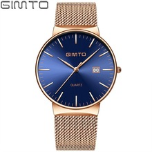 купить GIMTO Gold Creative Men Watch Brand Luxury Steel Clock Business Quartz Wristwatch Military Sport Wristwatch Relogio Masculino дешево