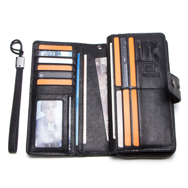 CONTACT'S genuine leather men long wallet with card holders male clutch zipper coin purse for cell phone business luxury wallets 2