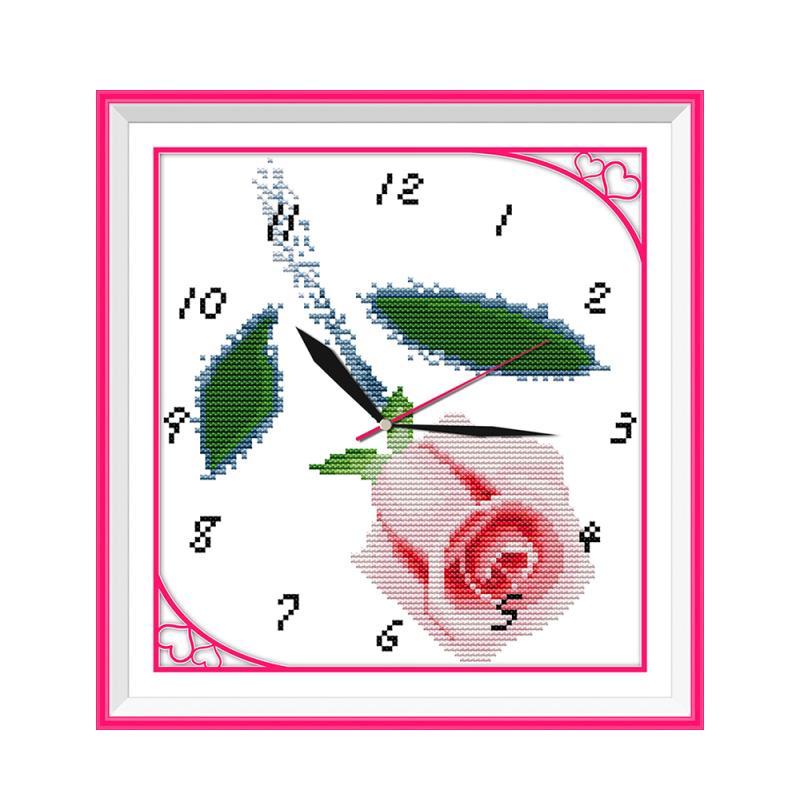 US $6 06 40% OFF Arabic Digital Clocks Paintings Cross stitch Kits Handmade  Pink Roses Flowers Send lover cherish time cherish each other-in Package