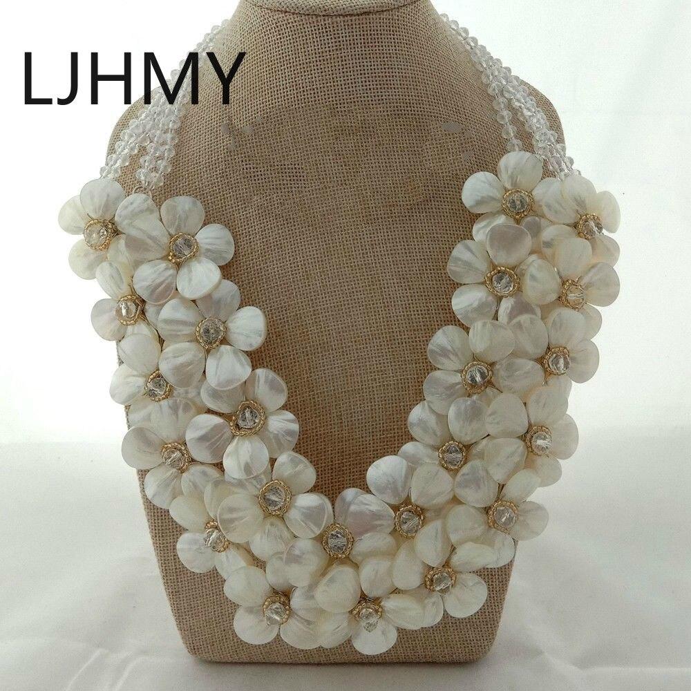 Coquille de mer blanche nacre fleur Cluster fait à la main déclaration collier femmes cadeau colliers de mariage