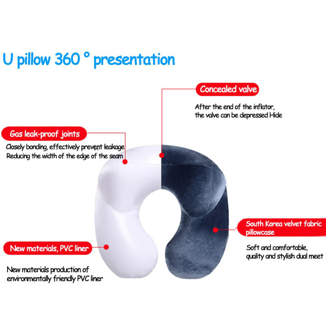 U-Shape Travel Pillow for Airplane Inflatable Neck Pillow Travel Accessories Comfortable Pillows 3