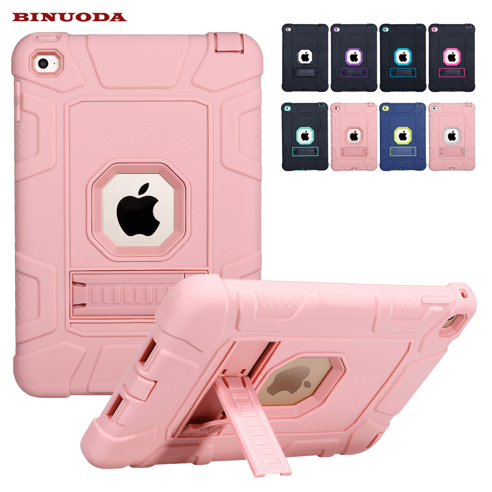 For iPad mini 4 Retina Kids Safe Armor Shockproof Heavy Duty Silicone Hard Case Cover For Apple iPad Mini 4 with Stand Holder retina kids safe armor shockproof heavy duty silicone hard case cover for apple ipad mini 1 2 3 w auto wake sleep function