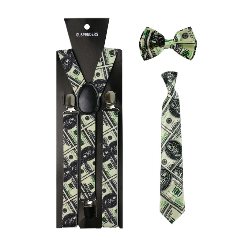 1inch Wide Dollar Pattern Print Suspenders Necktie And Bowtie Set Clip-on Elastic Y-Shape Back Braces Suspenders For Women Men