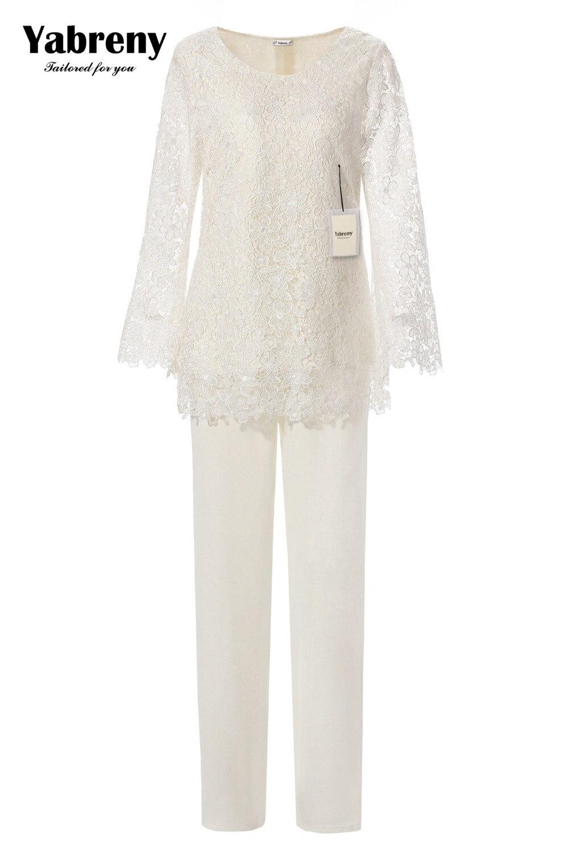 Yabreny élégant pantalon en dentelle ivoire pour mère de mariée 2 PC tenue MT0017010