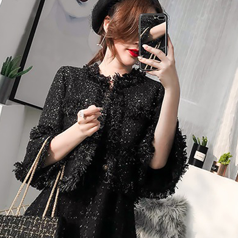 Black tweed coat sequins fabric 2019 spring autumn winter women s coat fashion ladies woolen coat