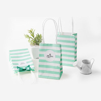 500 Set small gift bag with handles bow Ribbon stripe paper handbag Cookies candy Festival gift packaging bags Wedding party