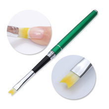 Acrylic French Tip Nail Brush with Cap Half Moon Smile Shape Drawing Painting Pen Green Handle Manicure Nail Art Tool