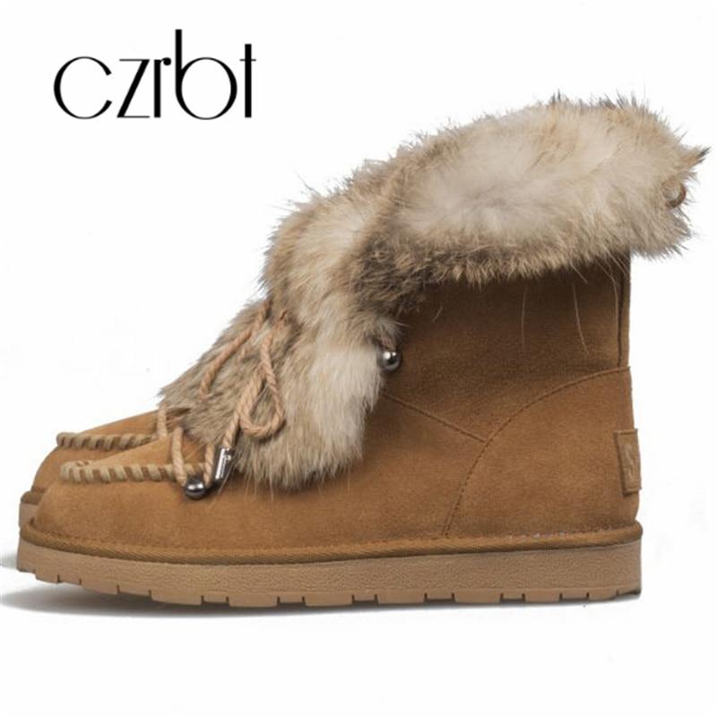 Czrbt 2018 nouvelles bottes de neige lapin cheveux résistant à l'usure antidérapant chaud bottes de neige dames cheville bottes de neige