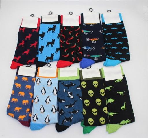 New Brand Long Crew Fox Alien Banana Beer Flamingo Cotton Men's Socks Hip Hop Cool Funny Skate Socks For Men Large Size EU 40-47