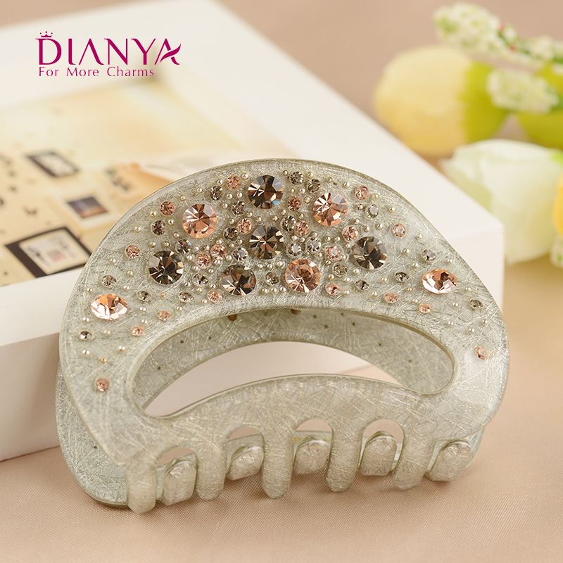 Luxury Rhinestone Hair Claw Clip for Women Cellulose Acetate Hair Jaw Clips Barrette Hair Crab Clamp Headwear Hair Accessories