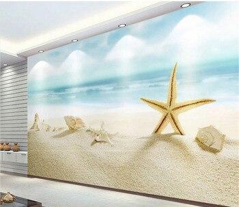 Strandhaus Bettwäsche | Tapete 3d Wandbild Für Wohnzimmer Grün Strand Muscheln Und Seesterne Nach Wandbild Moderne Kunst Malerei Hohe Qualität Wandbild