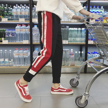 Outdoor 2019 Spring Autumn loose striped joggers running gym teenagers sweatpants men students sport hip hop ankle length pants