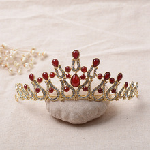 Free Shipping Silver Bottom Red Glass Crystals Crowns Tiaras Chic accesorios para el pelo Bridal Hair Accessories 31418