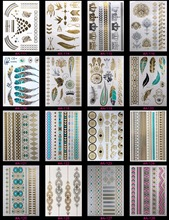 16PCS Temporary Tattoos Health Beauty Coloured Drawing Pattern Flash Tatoo Metal Gold Tattoo Women Adorn Article Randomly Send