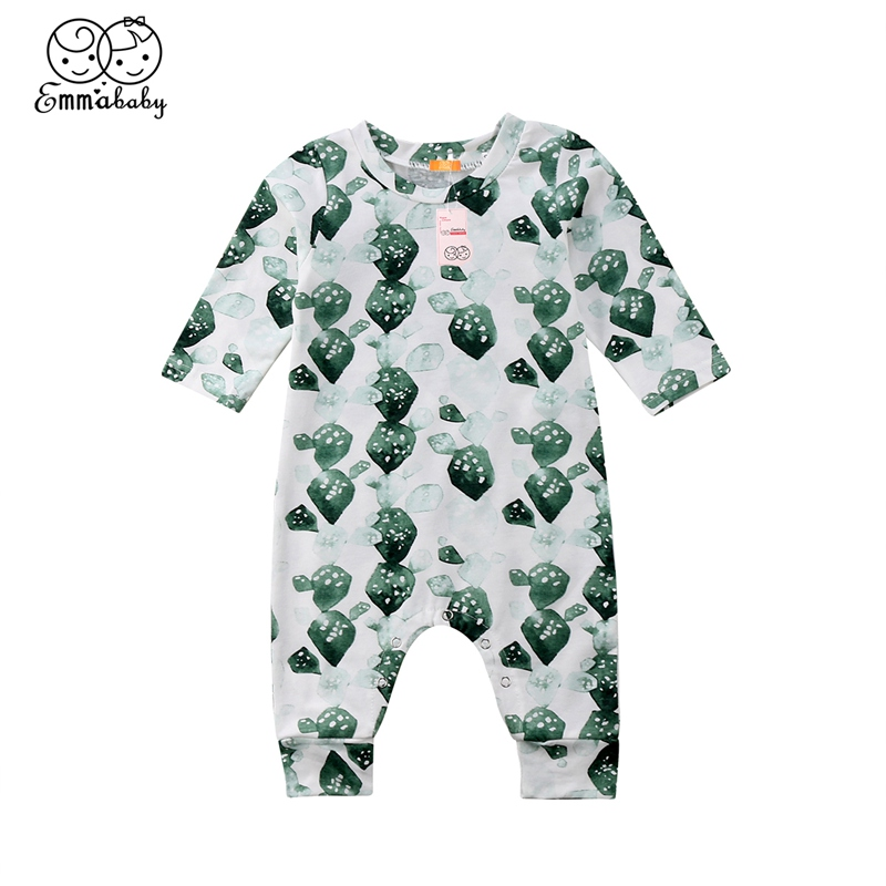 2018 Newborn Baby Girls Boys Rompers Print Cotton Outfits Sunsuit Long Sleeve Rompers 0-24m