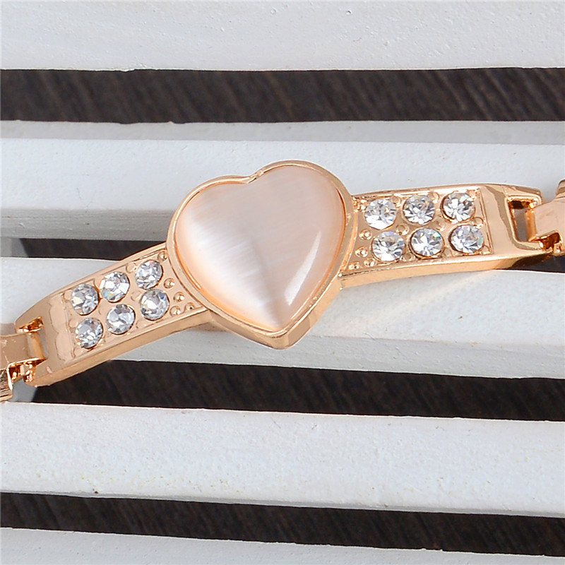 Gold Color Heart Cat Eye Bracelet