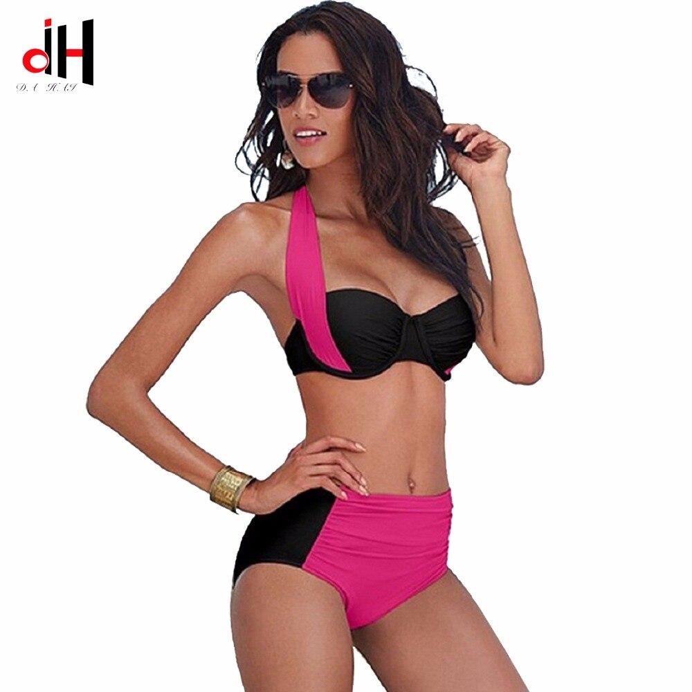 DA HAI 2017 New Sexy Bikinis Women Swimsuit High Waisted Bathing Suits Swim Halter Push Up Bikini Set Plus Size Swimwear 3XL cheap sexy bathing suits plavky girls bikinis women woman plus size swimwear 2017 17 new korean strapless triangle badpakken