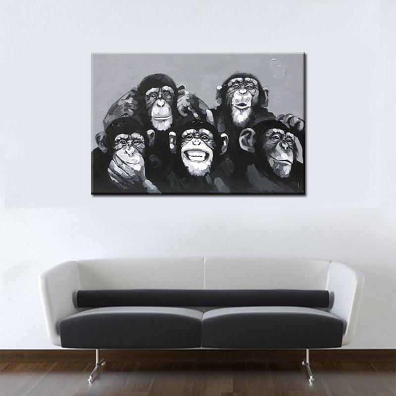 Əl Boyalı Müasir Abstrakt Akrilik Heyvan Yağlı Boyama Kətan - Ev dekoru - Fotoqrafiya 4
