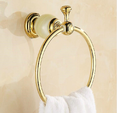Free Shipping Wholesale and Retail Unique Design Jade Golden Towel Ring Wall Mounted Brass Towel Holder Bathroom Towel Rack the ivory white european super suction wall mounted gate unique smoke door