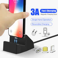 SIKAI 3 in 1 USB C Android IOS Magnetic Charging Dock USB Cable For iPhone X Samsung Huawei 3A Magnet Quick Charging Stand
