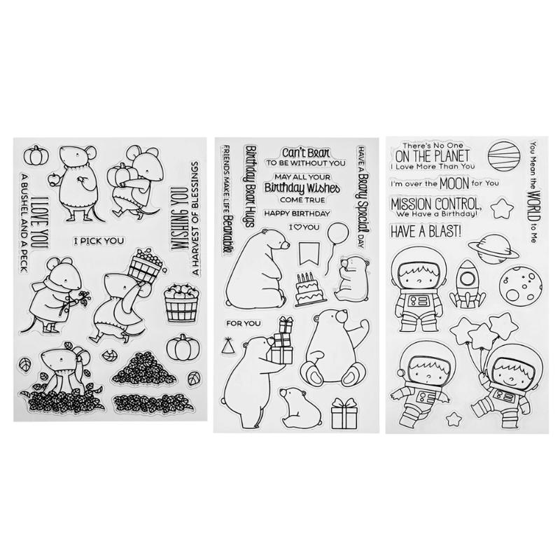 2pcs DIY Scrapbooking Silicone Seals Clear Stamps+Cutting Dies Album Card Gifts
