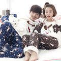 2016 Xmas Reindeer Men Women Flannel Pajamas Couple Pyjama Suits Winter Garment Sleepwear Nightclothes Thick Christmas Gift