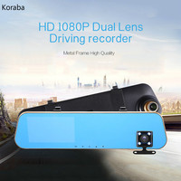 4 3 1080P Dual Lens Car DVR Rear View Mirror Video Recorder Dual Cam Reversing Camera