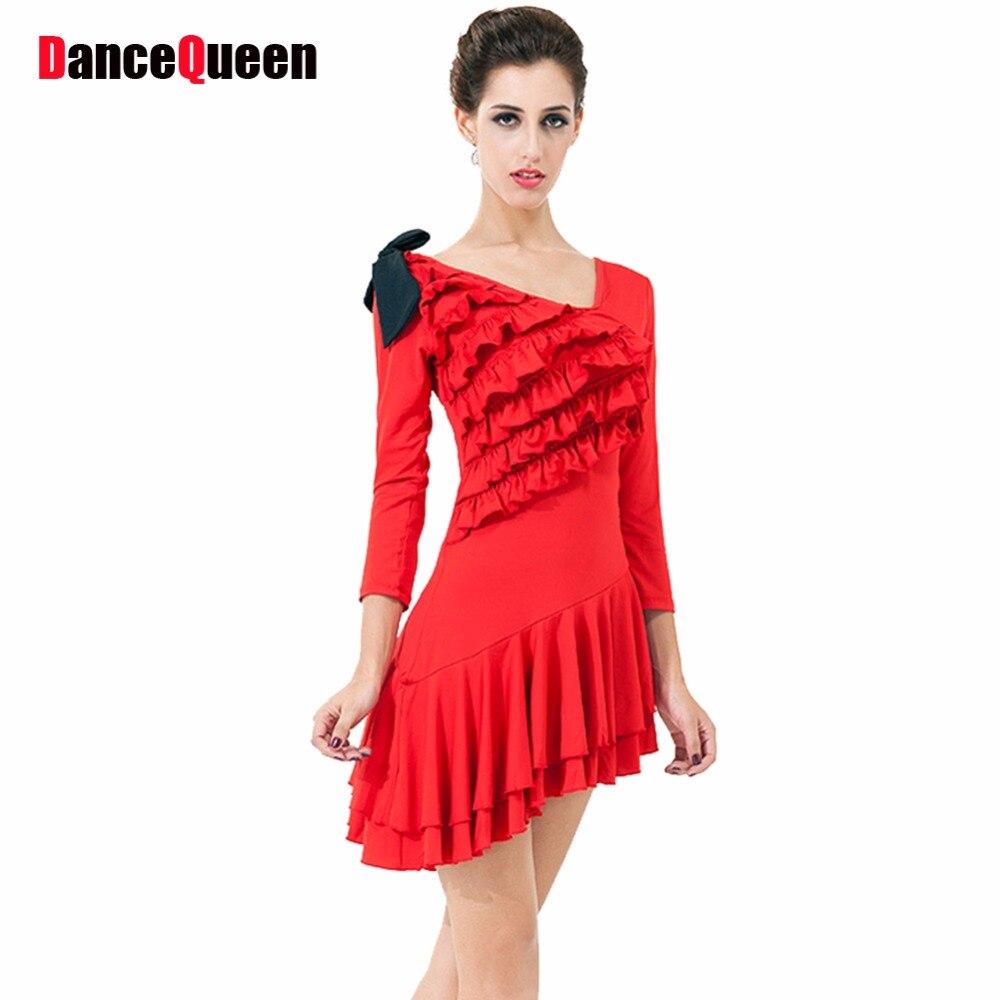 llegada Salón vestido larga para Latino danza danza mujeres baile vestidos rojoNegro nueva ropa Latino 2017 cortomanga 5ITOqO