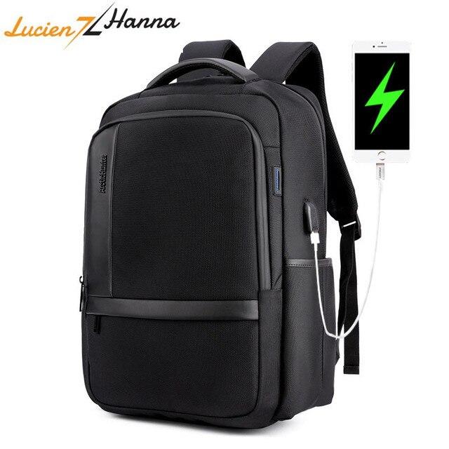Waterproof Laptop Backpack Men 15.6 inch Computer Bag Pack External USB Charging Port Anti Theft Travel Backpack Mochila Hombre