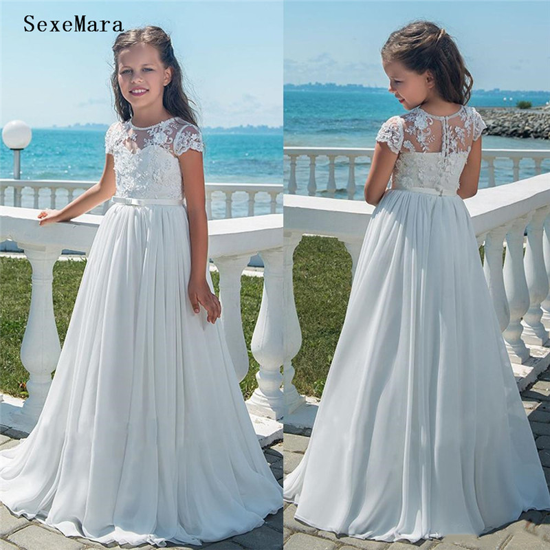 White Lace Chiffon   Flower     Girl     Dresses   Party Pageant   Dresses   A-Line Lace   Flower     Girls   Gowns Kids First Communion   Dresses