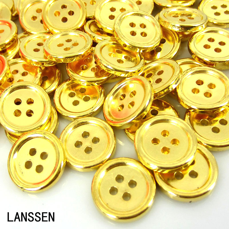 100pcs 5/8 gold plastic buttons 4 holes buttons fit sewing clothes accessories crafts 15.0mm buttons
