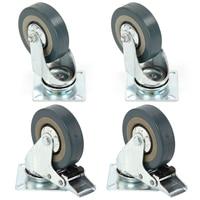 Set Of Heavy Duty 65x21mm Rubber Swivel Castor Wheels Trolley Caster Brake 40KGModel 2 With Brake